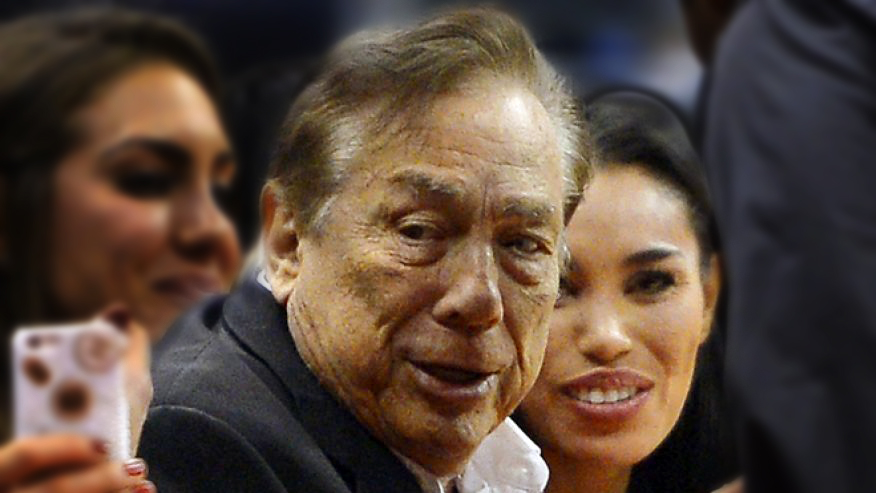 "81-year old Donald Sterling and his ""girlfriend"" (aka, paid escort, prostitute, hoe) María Vanessa Perez. (aka, V. Stiviano)"